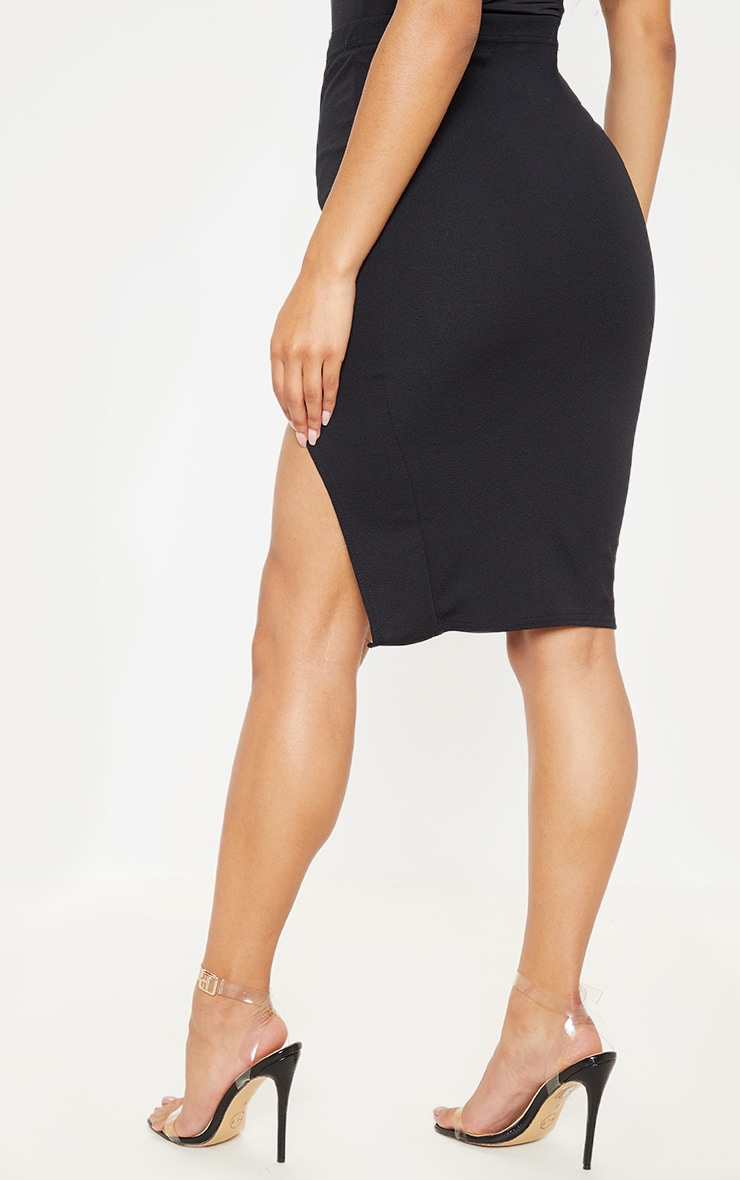 Basic Black Split Midi Skirt  4