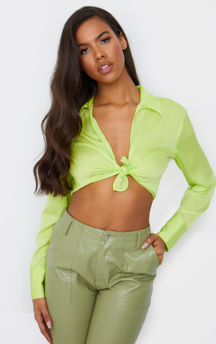 Lime Satin Collared Twist Front Cropped Shirt 1