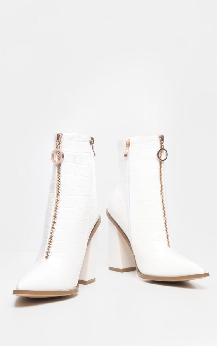 White Zip Front Block Heel Boot 4