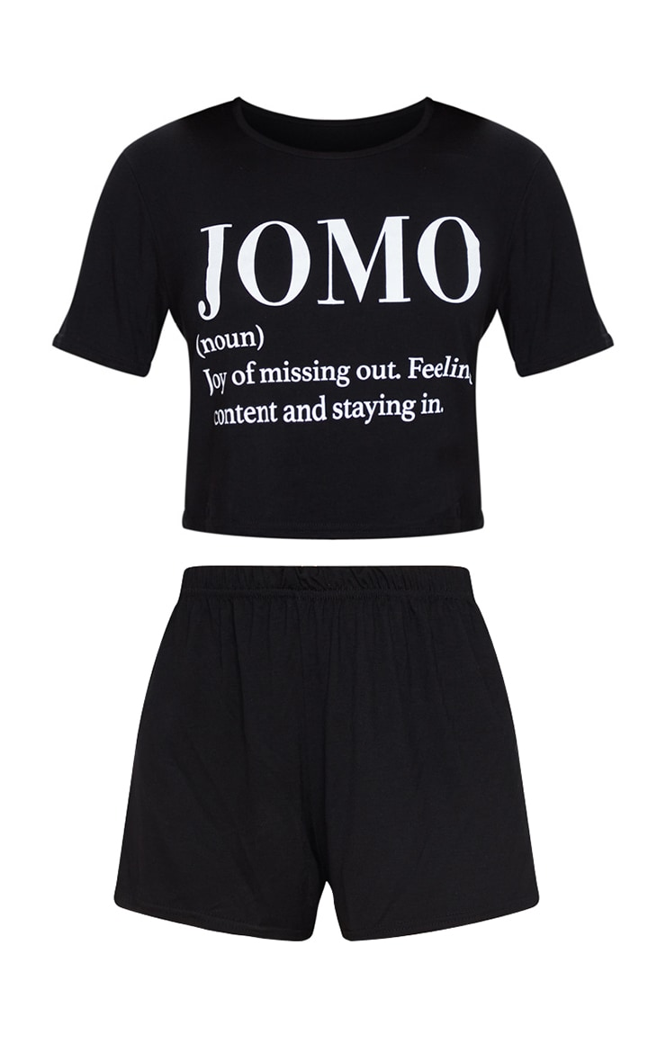 Black JOMO Short PJ Set 5