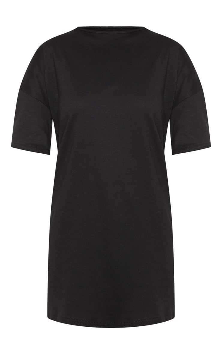 Petite Black Oversized T Shirt Dress 3