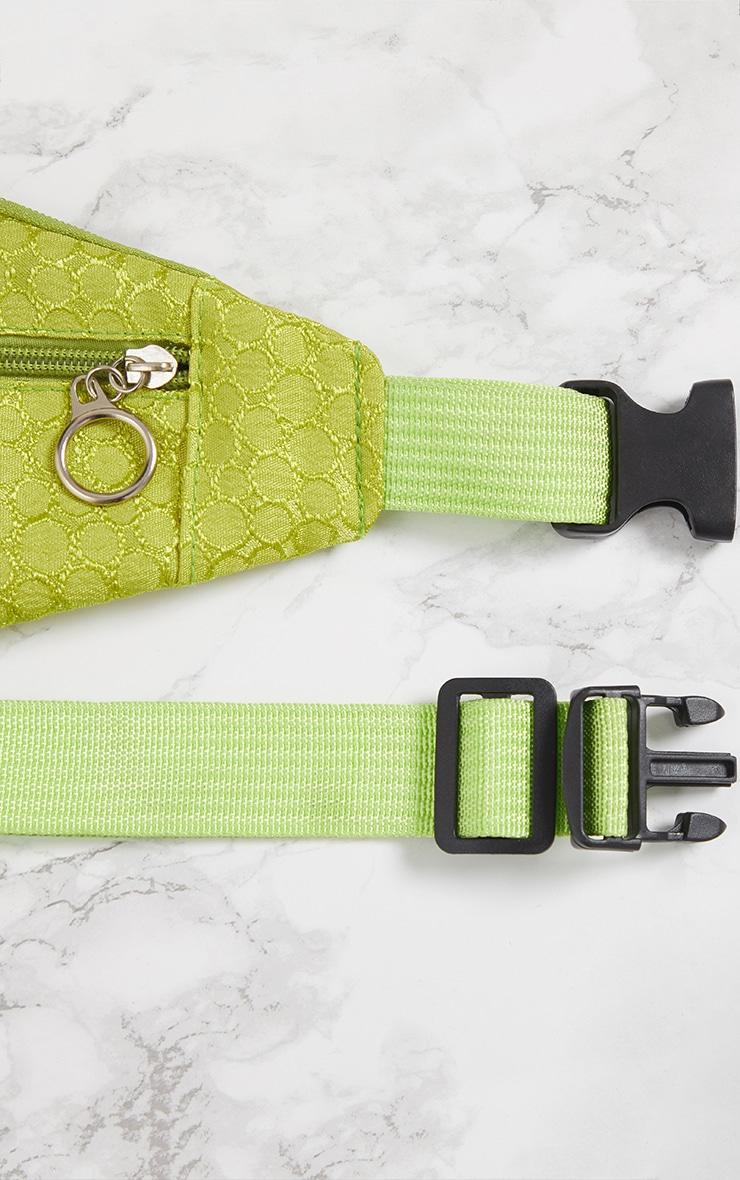 Lime Green Jacquard Bum Bag 6