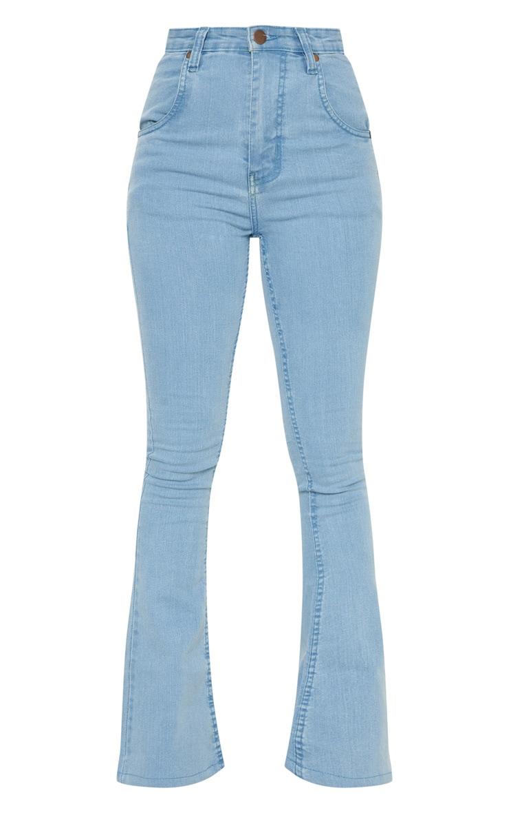 Petite Light Wash Stretch Denim Flare Jeans 3