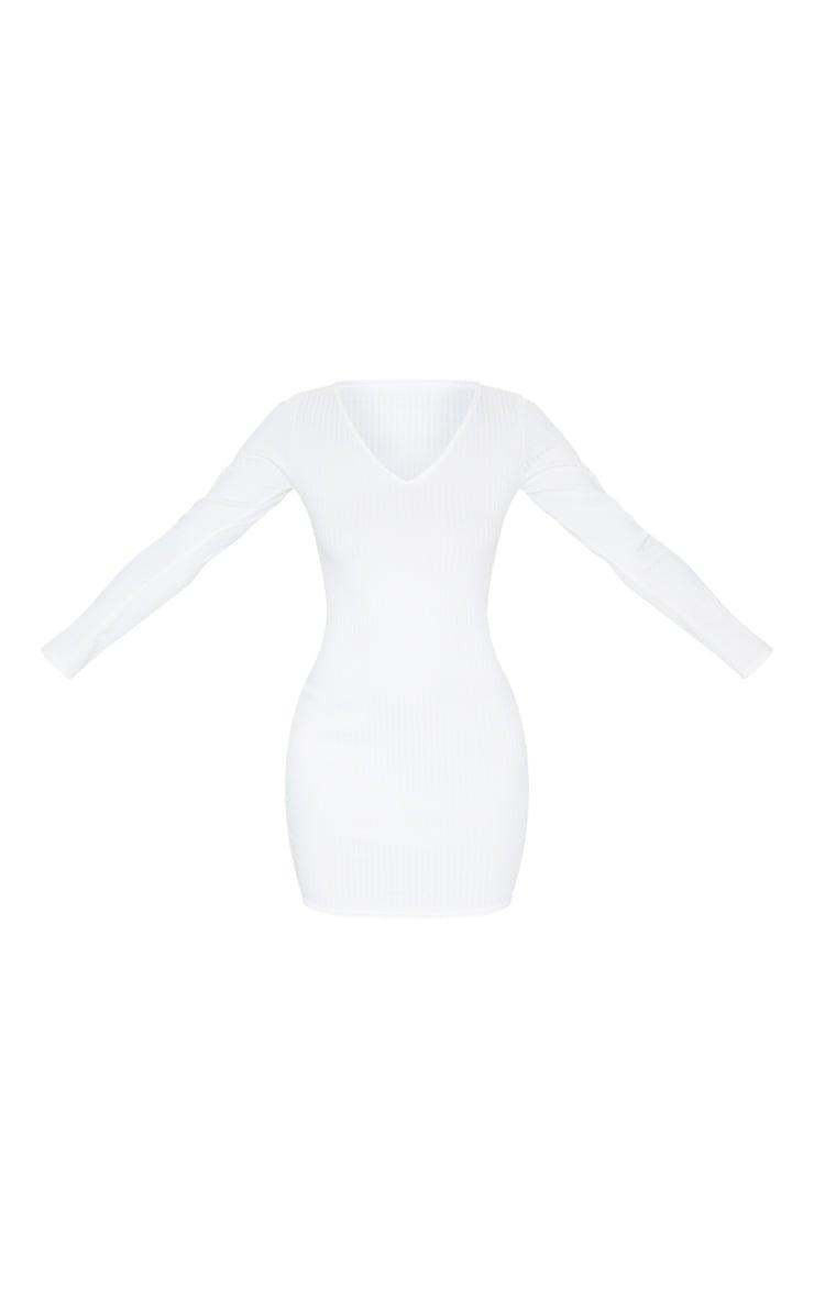 Cream Ribbed Plunge Long Sleeve Bodycon Dress 5