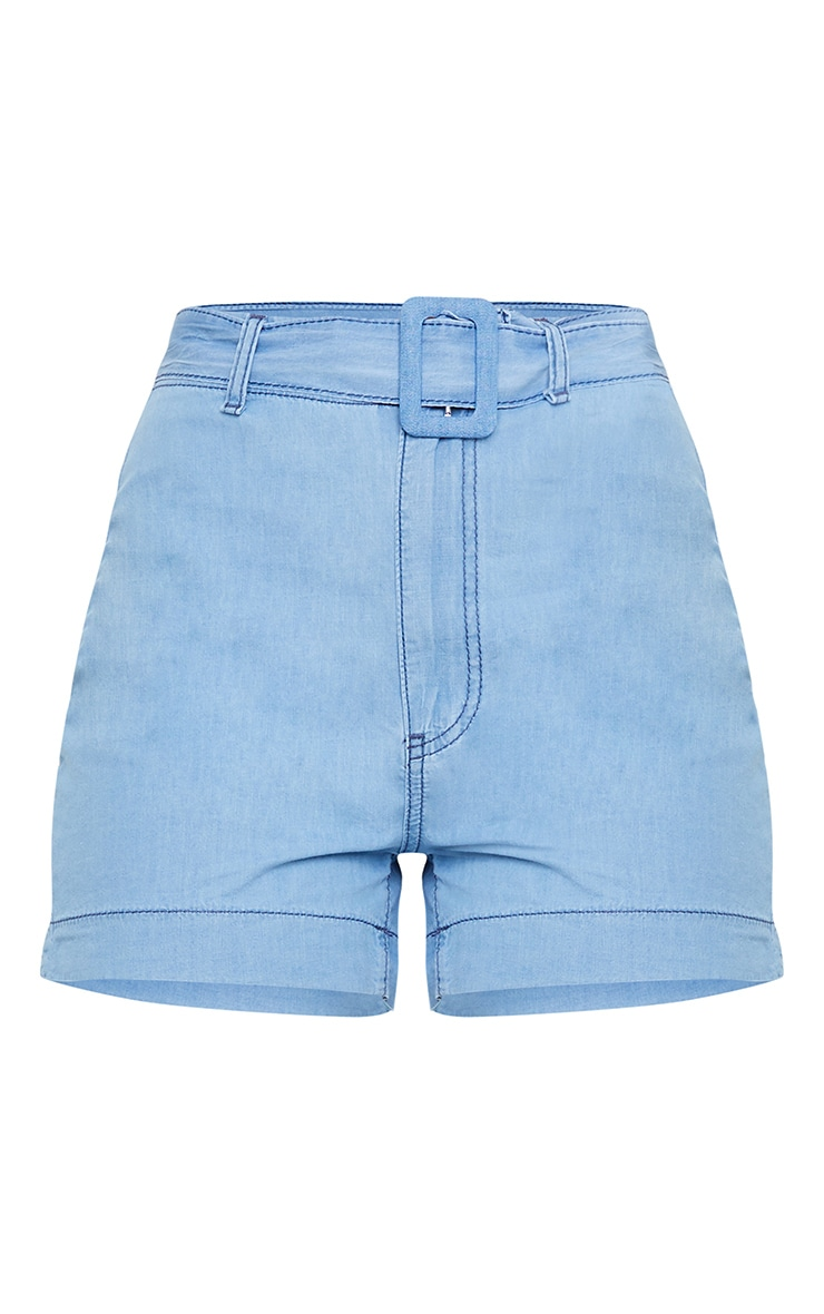 Light Blue Wash Belted High Waist Denim Shorts 6