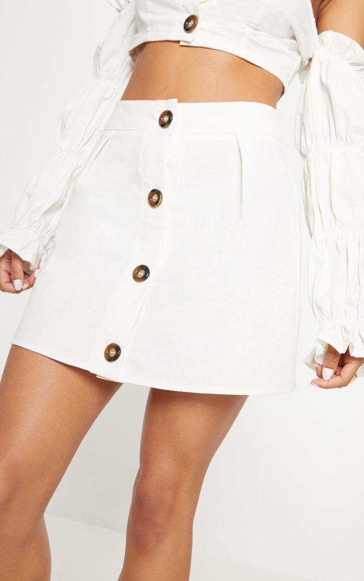 White Cotton Button Detail Mini Skirt 6