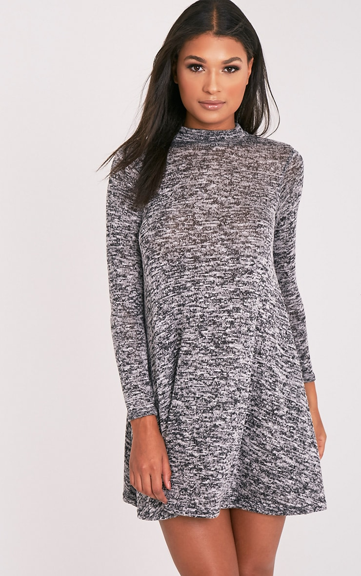 Annwyl Grey High Neck Long Sleeved Swing Dress 1