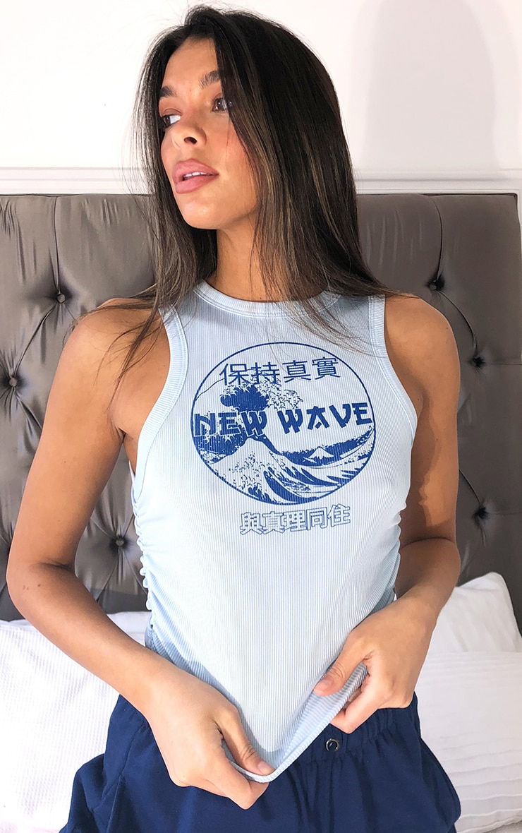 Blue New Wave Printed Rib Ruched Vest 1