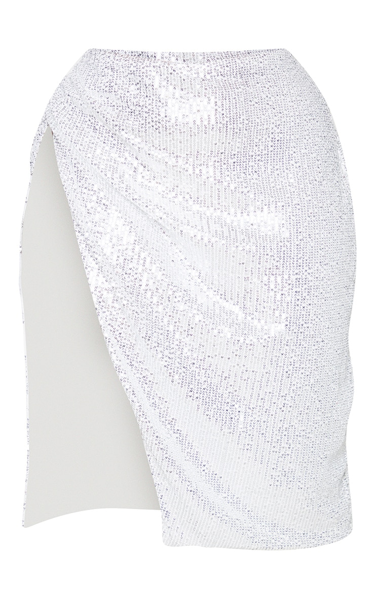 Plus Silver Sequin Ruched Side Split Midi Skirt 5