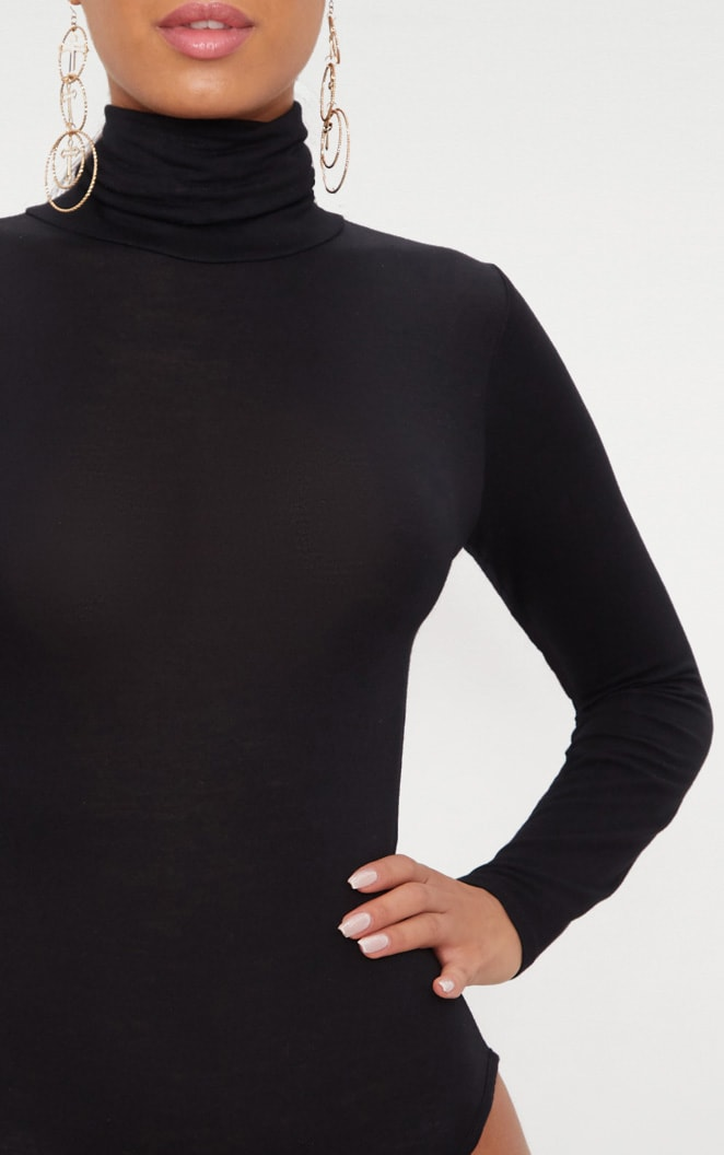 Black Roll Neck Long Sleeve Bodysuit 5