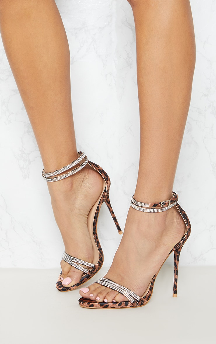 Leopard Print Diamante Jewel Strappy Sandal 2