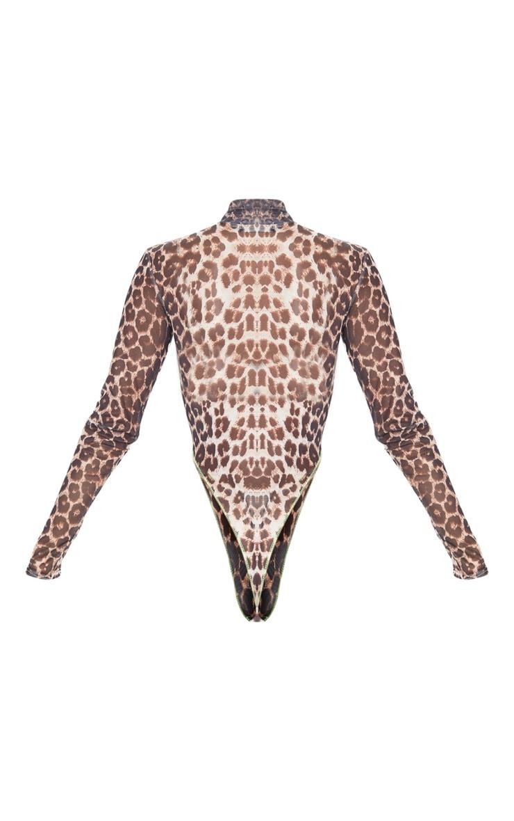 Tan Leopard Print Mesh High Neck Bodysuit 4