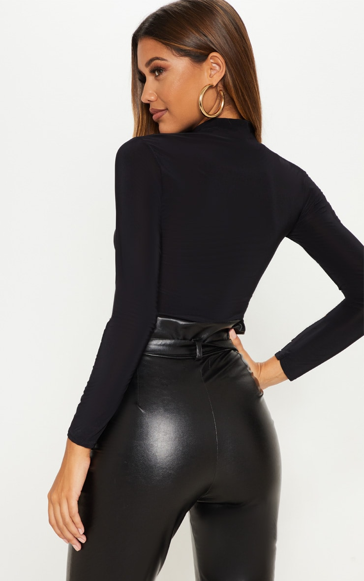 Black Long Sleeve Slinky Roll Neck Top 2