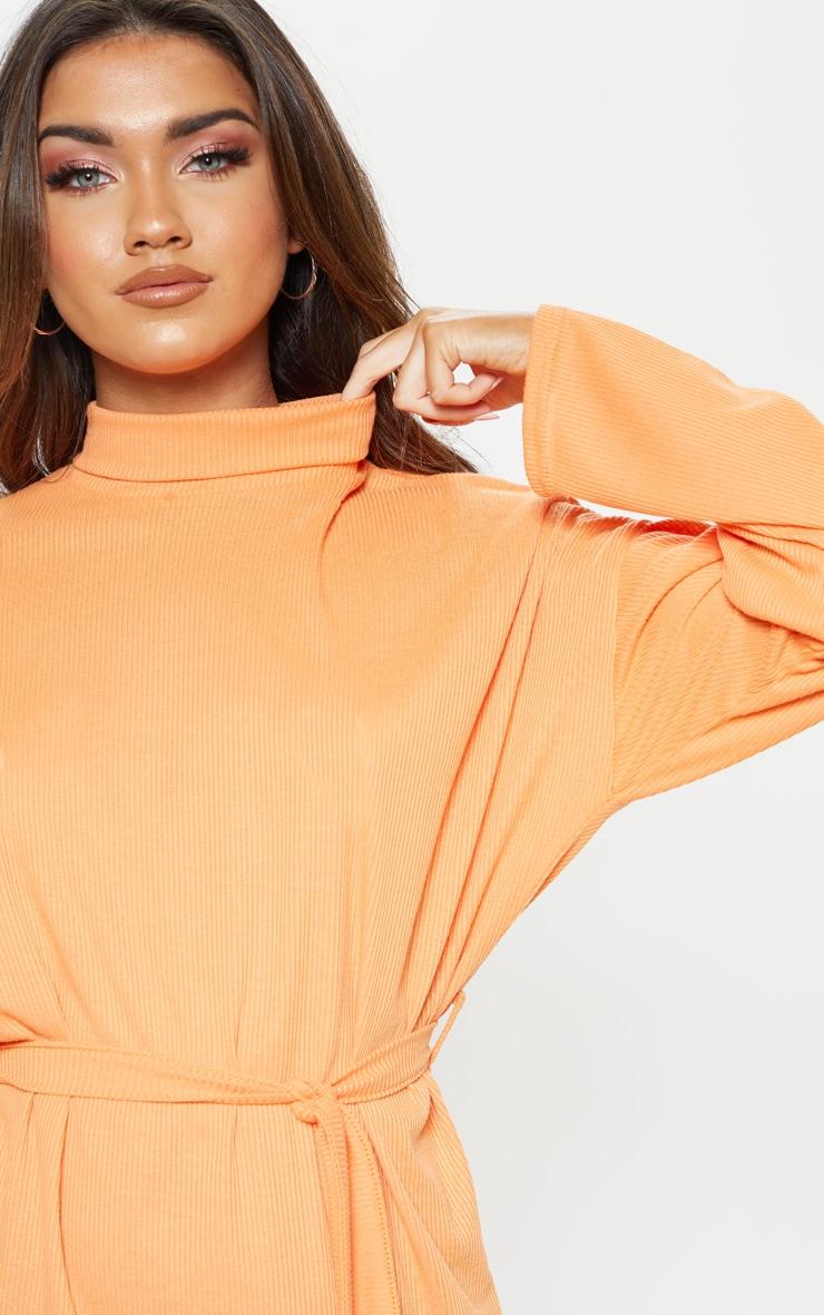 Orange Rib High Neck Batwing Sleeve Tie Waist Dress 5