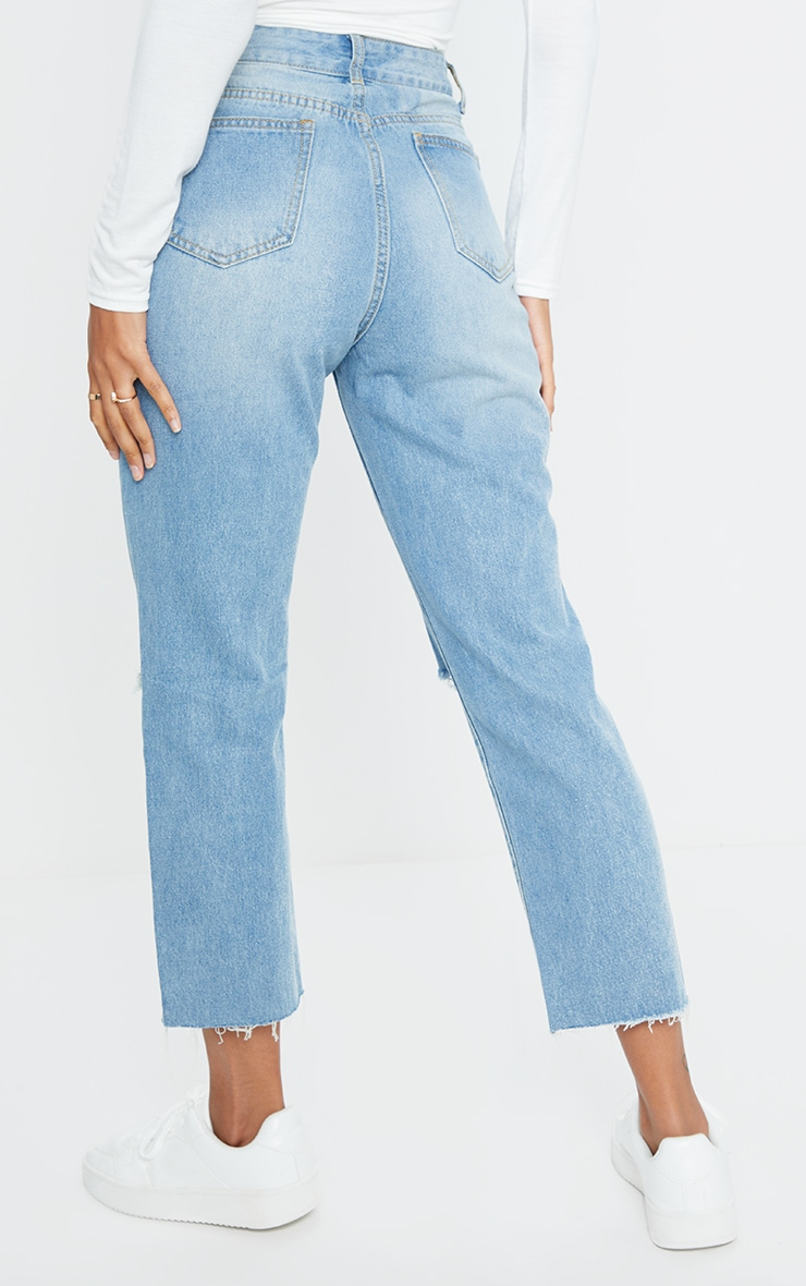 Light Wash Cropped Straight Leg Jean 3