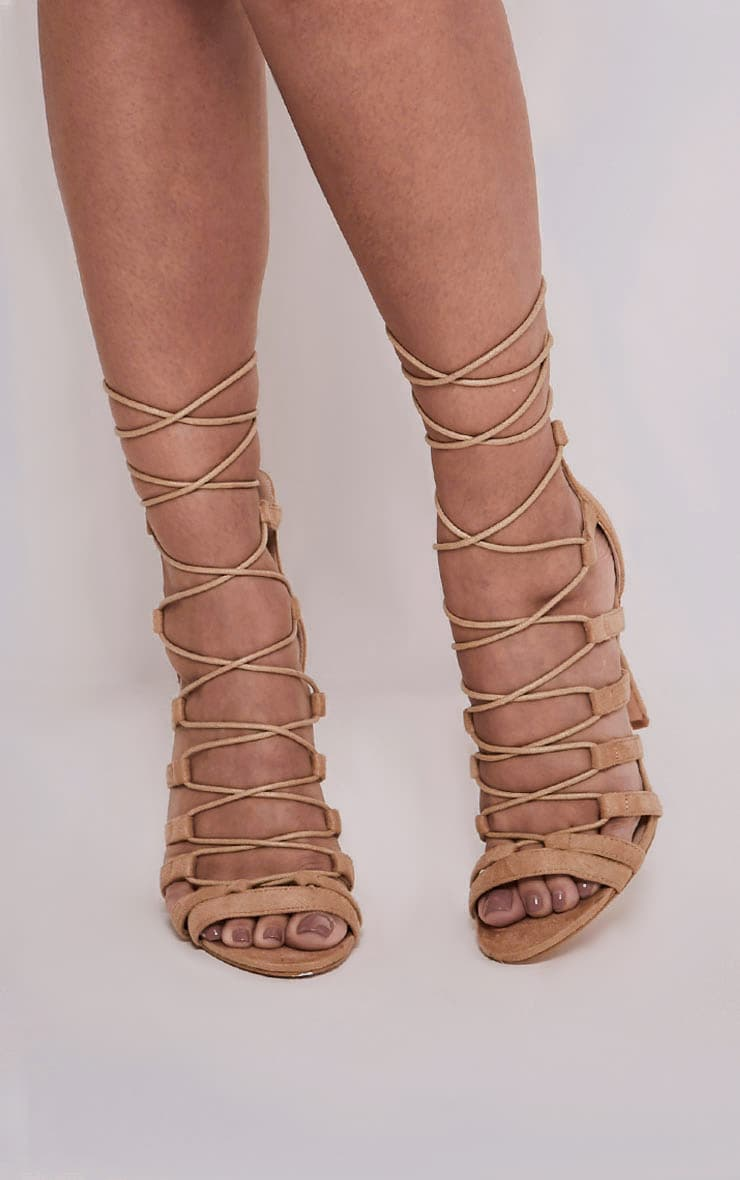 Rosah Nude Faux Suede Lace Up Heels 2