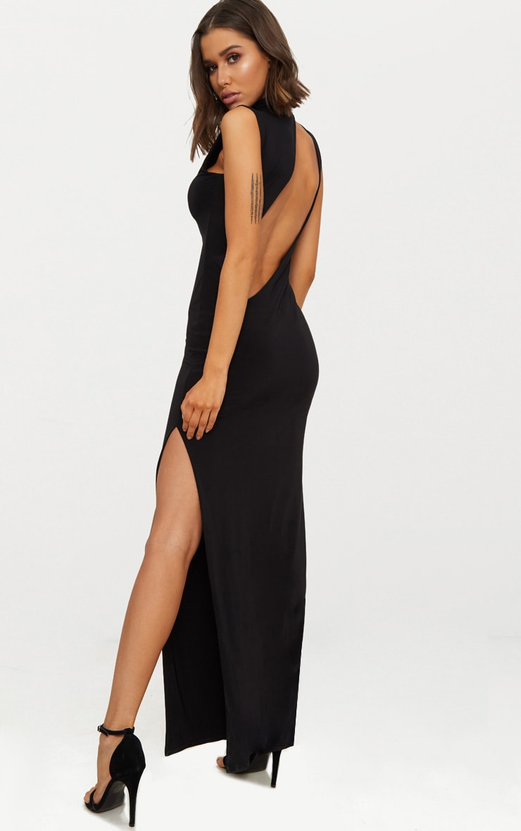 Black Slinky Cut Out Back Maxi Dress 1
