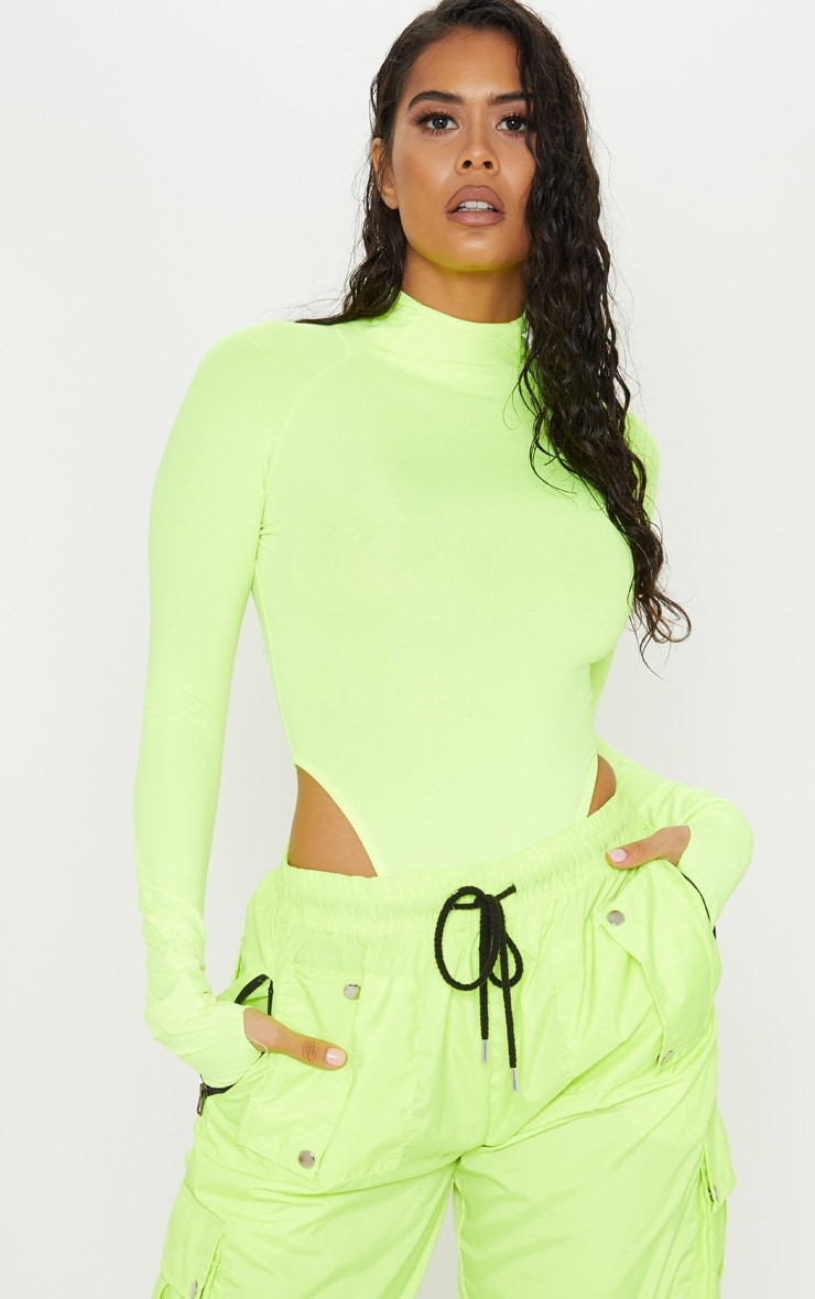 Neon Yellow Slinky High Neck Long Sleeve Bodysuit  1