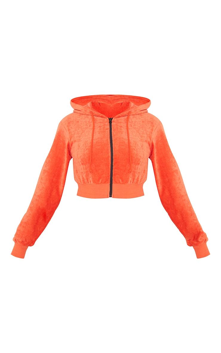 Petite Orange Velour Cropped Hoodie 5