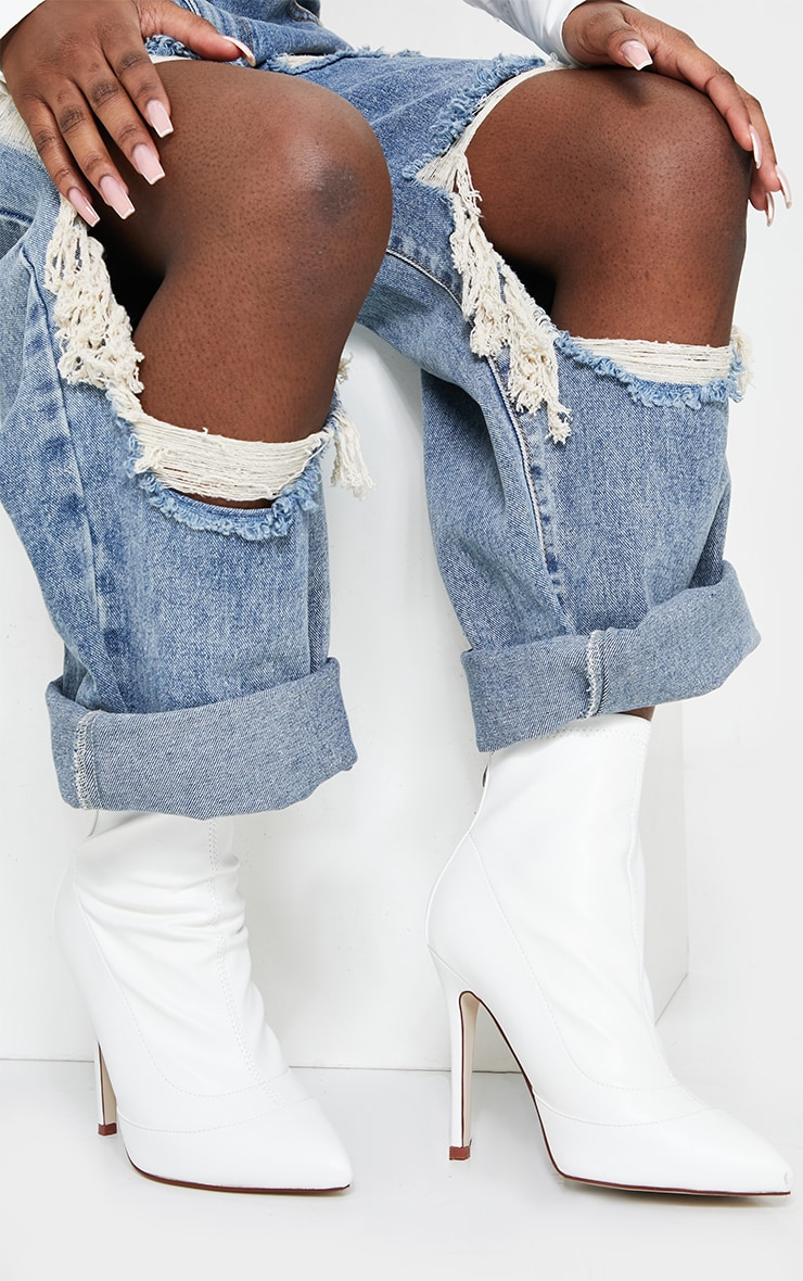 White WIDE FIT Pu Pointed Ankle Sock Boots 2