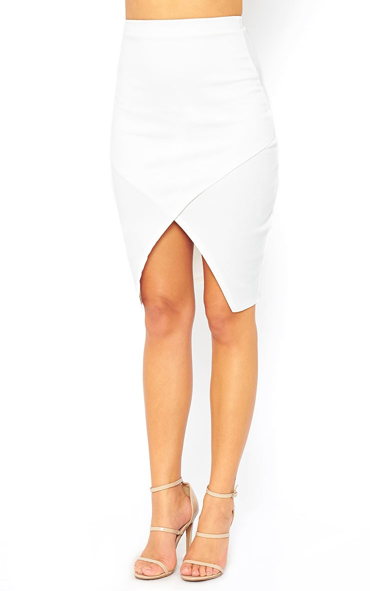 Melrose Cream Scuba Midi Skirt 3