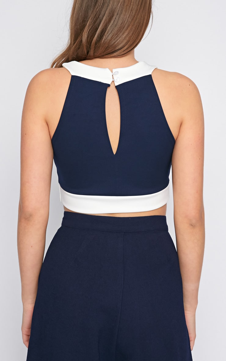 Perrie Navy Cut Out Crop Top  2