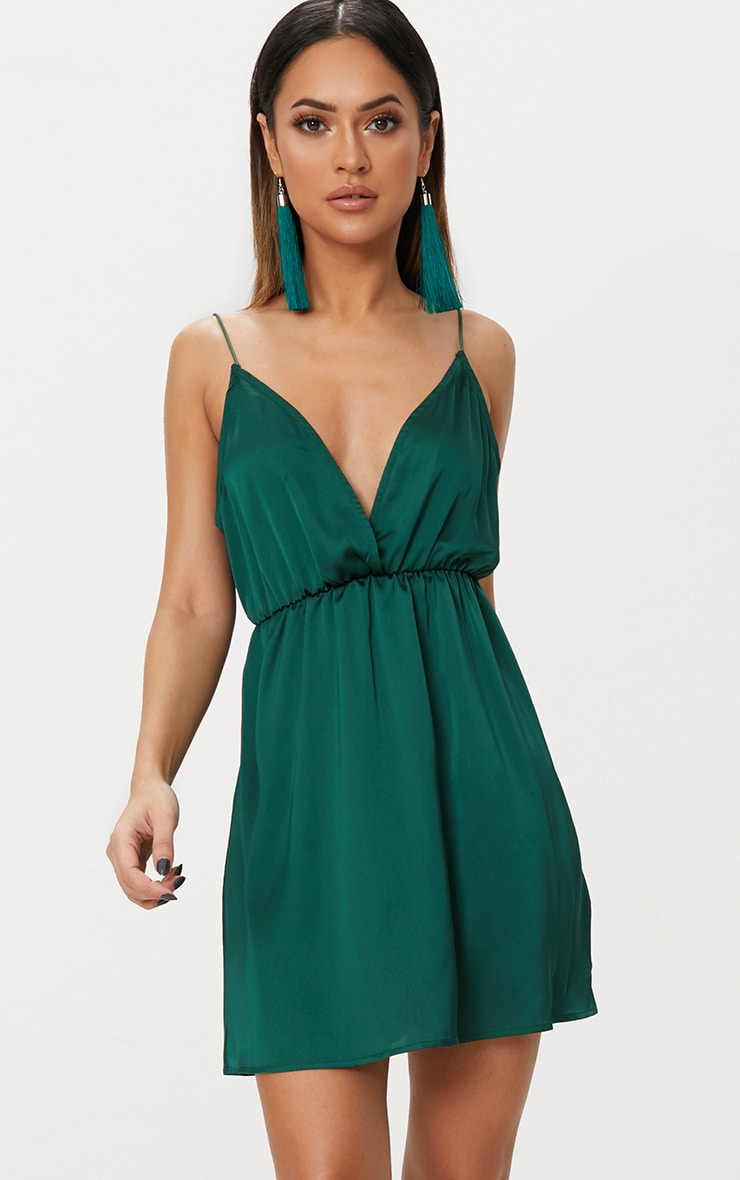 Emerald Green Satin Extreme Plunge Shift Dress 1