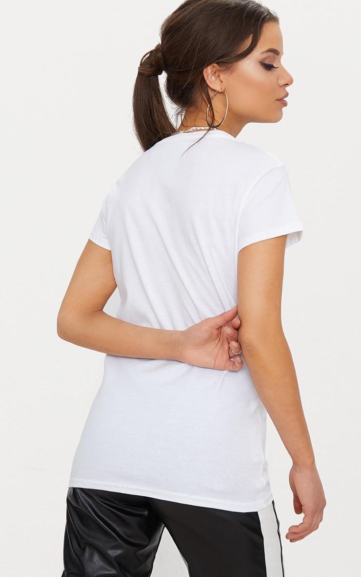 Basic White Fitted V Neck Jersey T Shirt 2