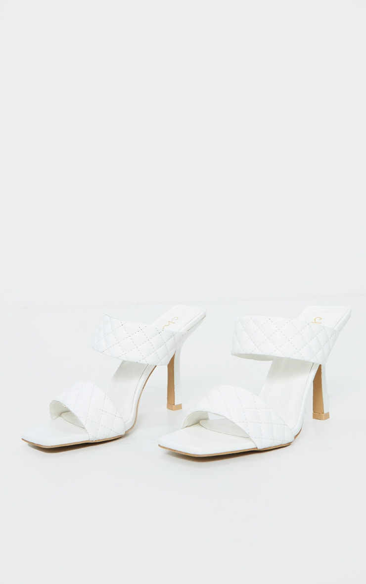 White Twin Strap Quilted Mule Heels 3