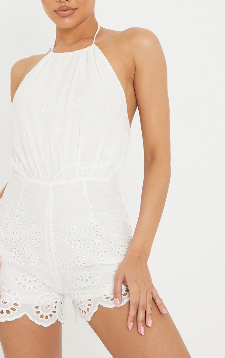 White Broderie Anglaise Halterneck Playsuit 4