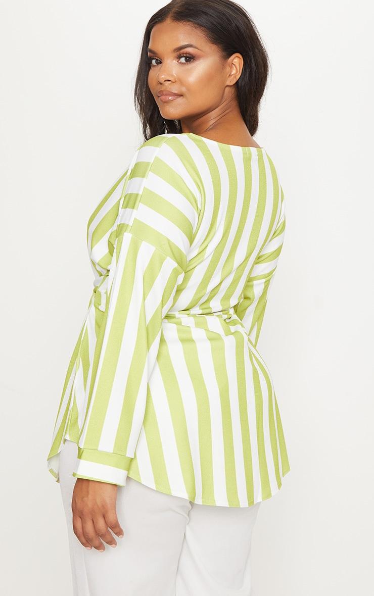 Plus Lime Striped Tie Waist Blouse 2