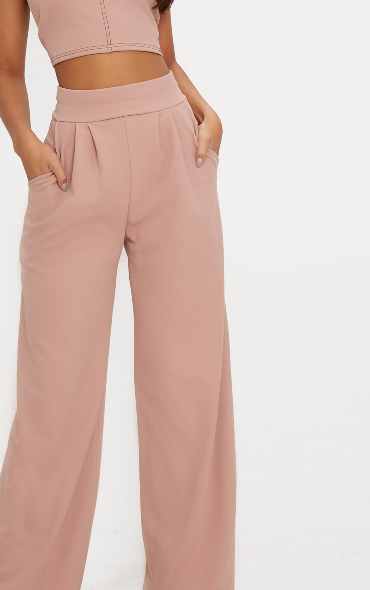 Dusty Pink Pleated Front Wide Leg Trouser 5