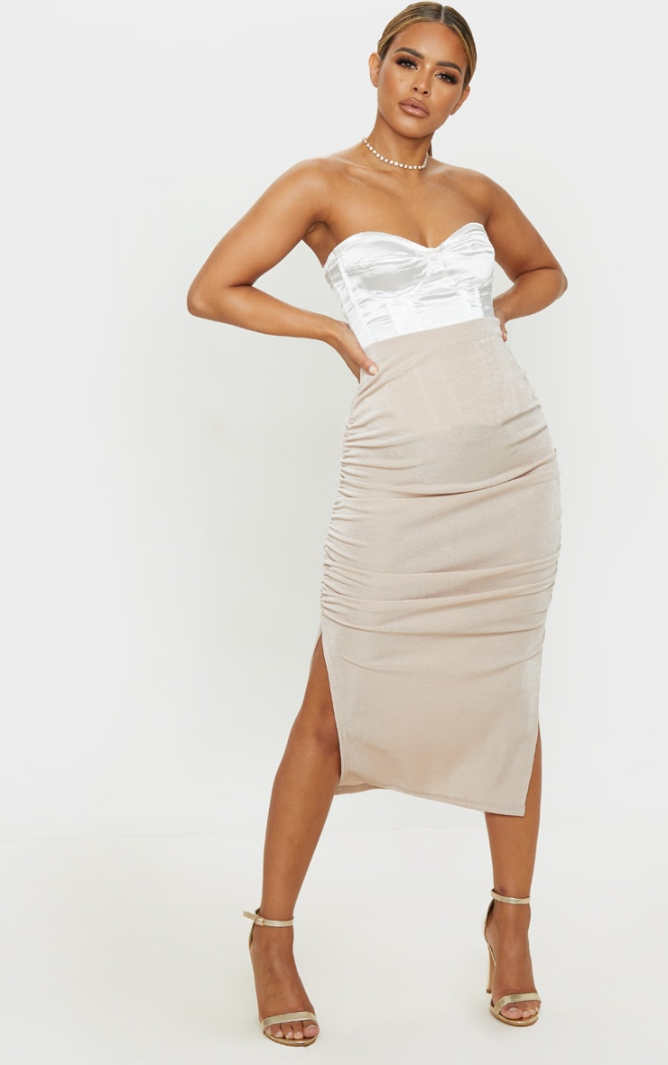 Petite Champagne Ruched Double Split Midi Skirt 1