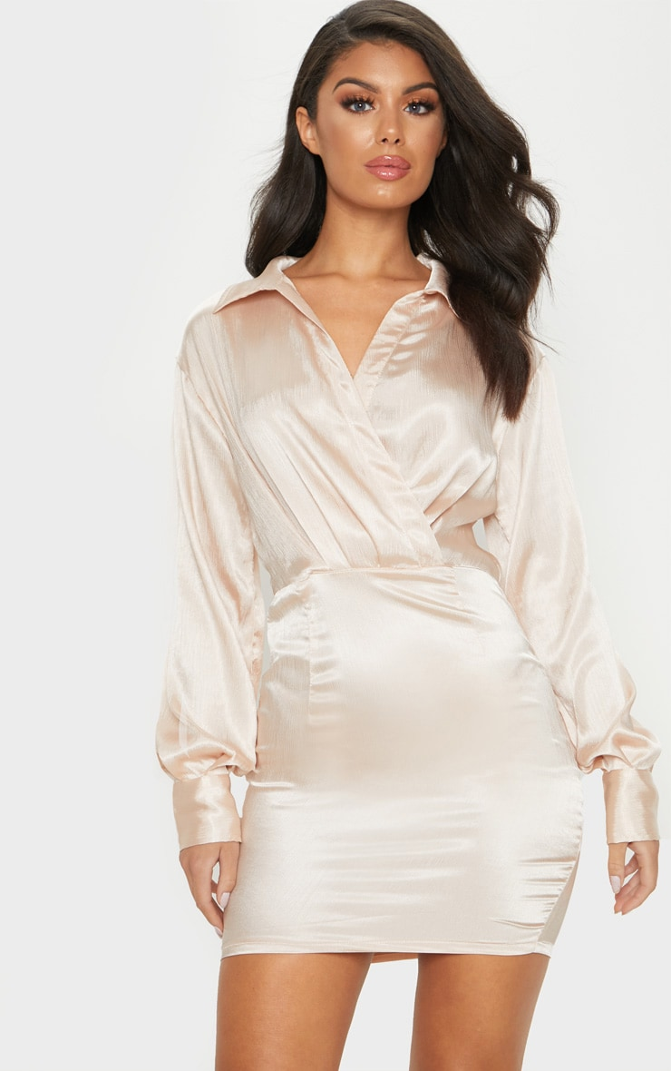 Champagne Pleated Satin Shirt Style Bodycon Dress 1