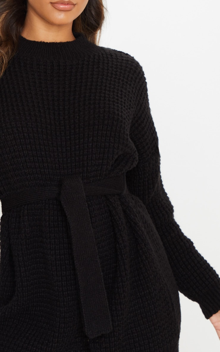 Black Soft Touch Belted Knitted Sweater Dress 5