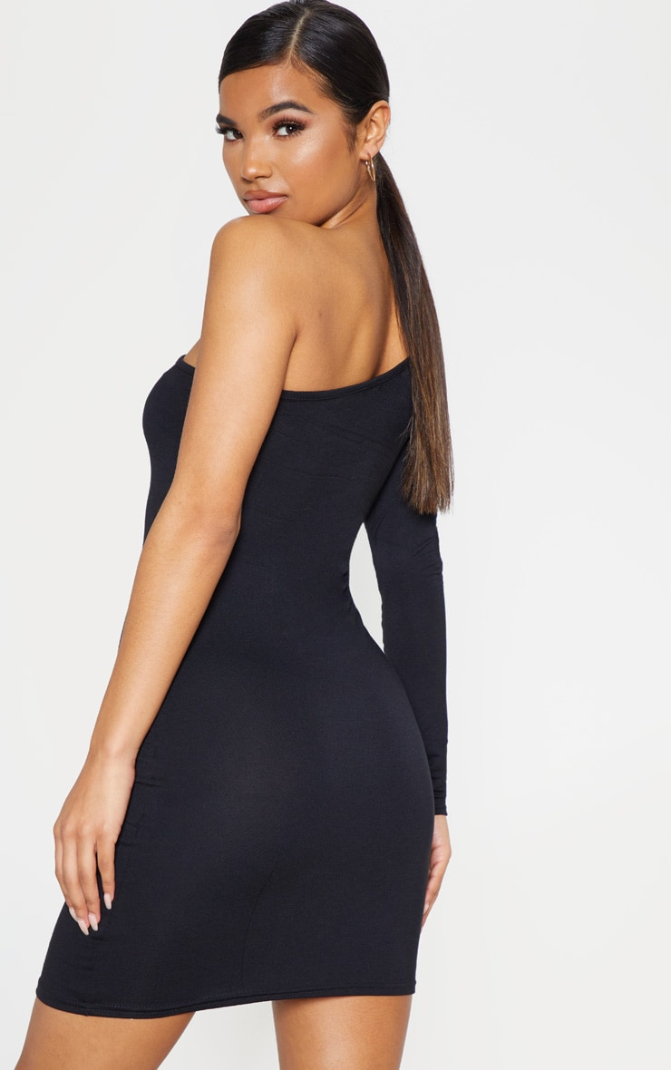 Black One Shoulder Long Sleeve Bodycon Dress  2