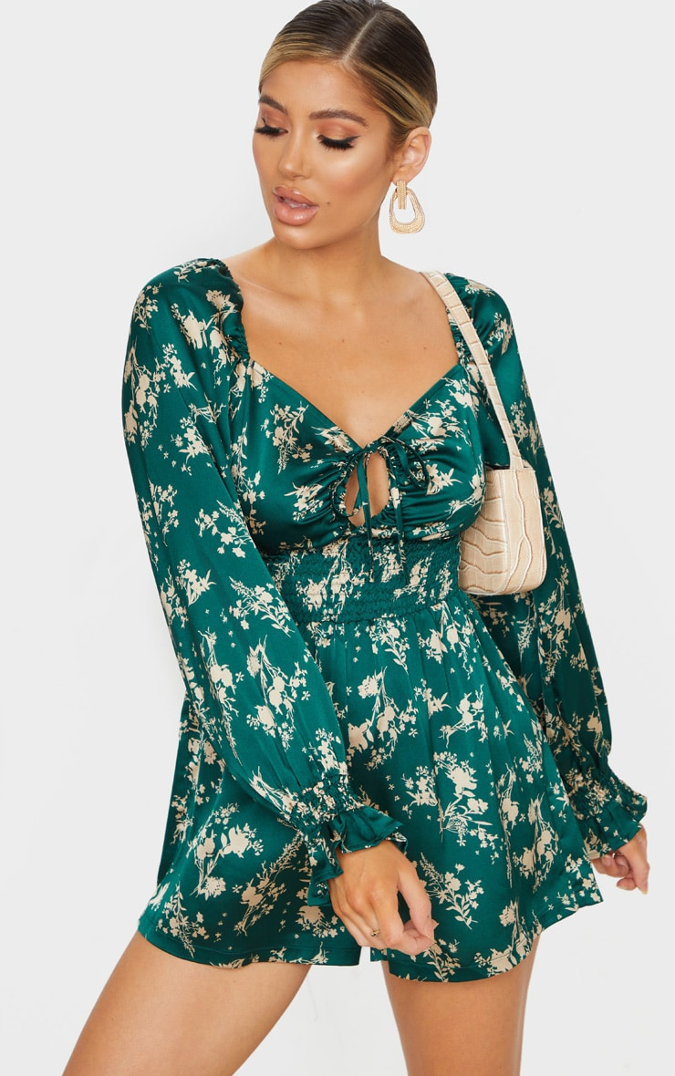 Emerald Green Floral Print Satin Puff Sleeve Romper 1