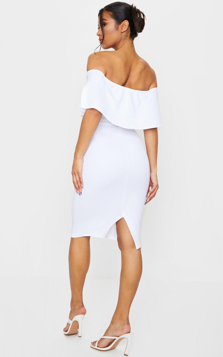 White Bardot Frill Midi Dress 2