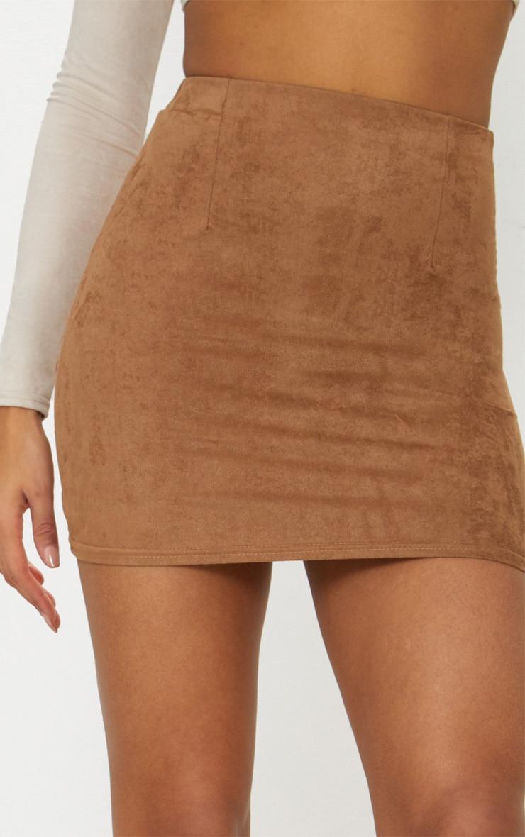 Tan Faux Suede Mini Skirt  5