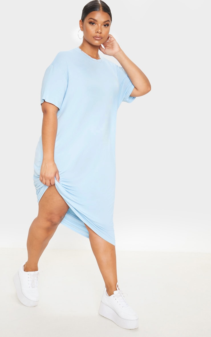 Plus Dusty Blue Oversized Boxy Midi T Shirt Dress 4