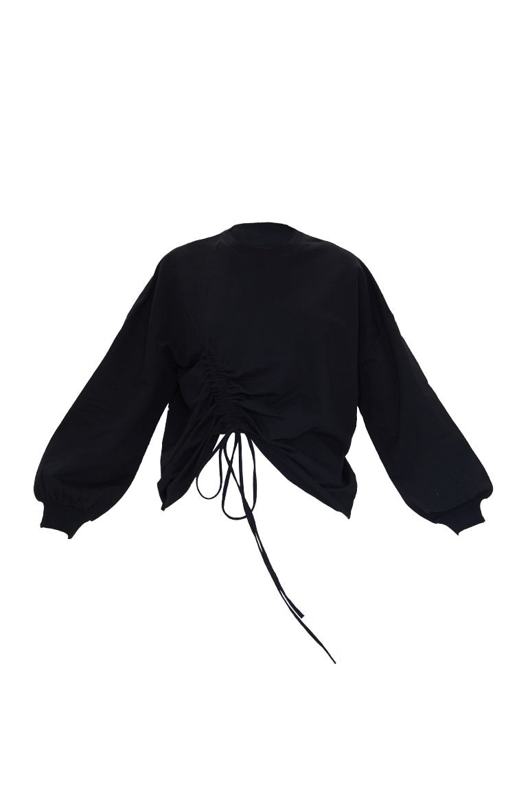 Black Drawstring Ruched Side Sweatshirt 5