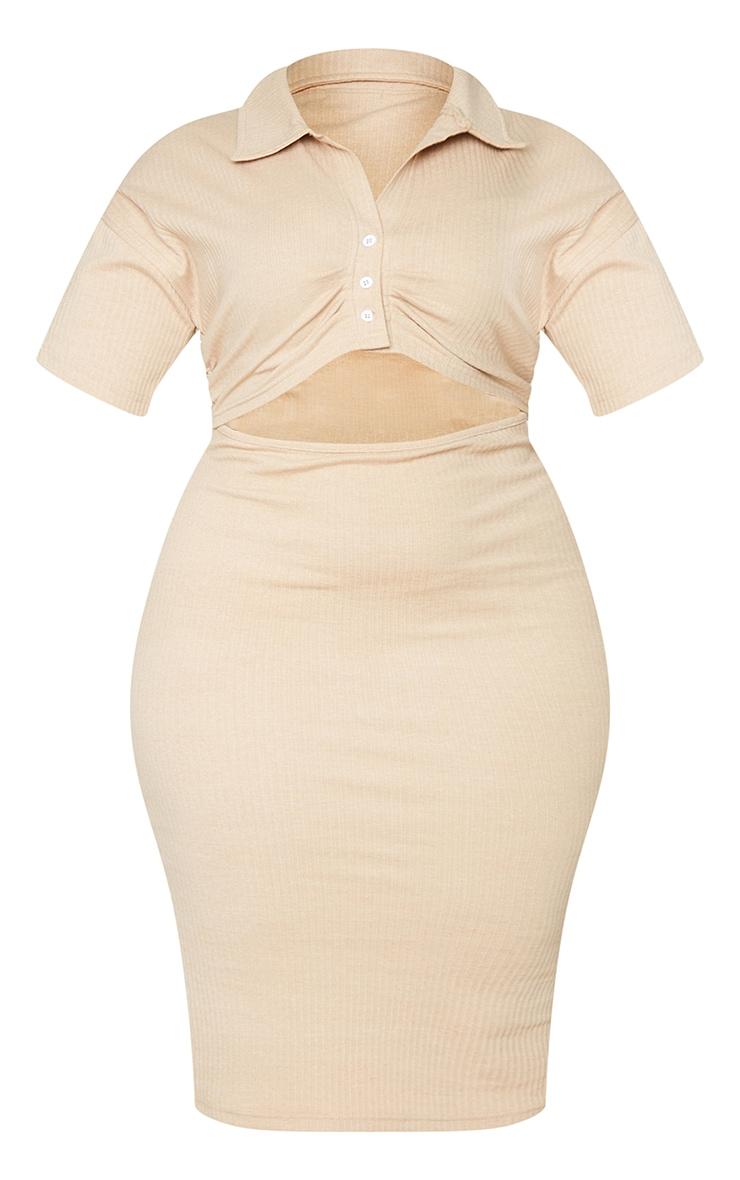 Plus Stone Thick Rib Cut Out Midi Dress 5