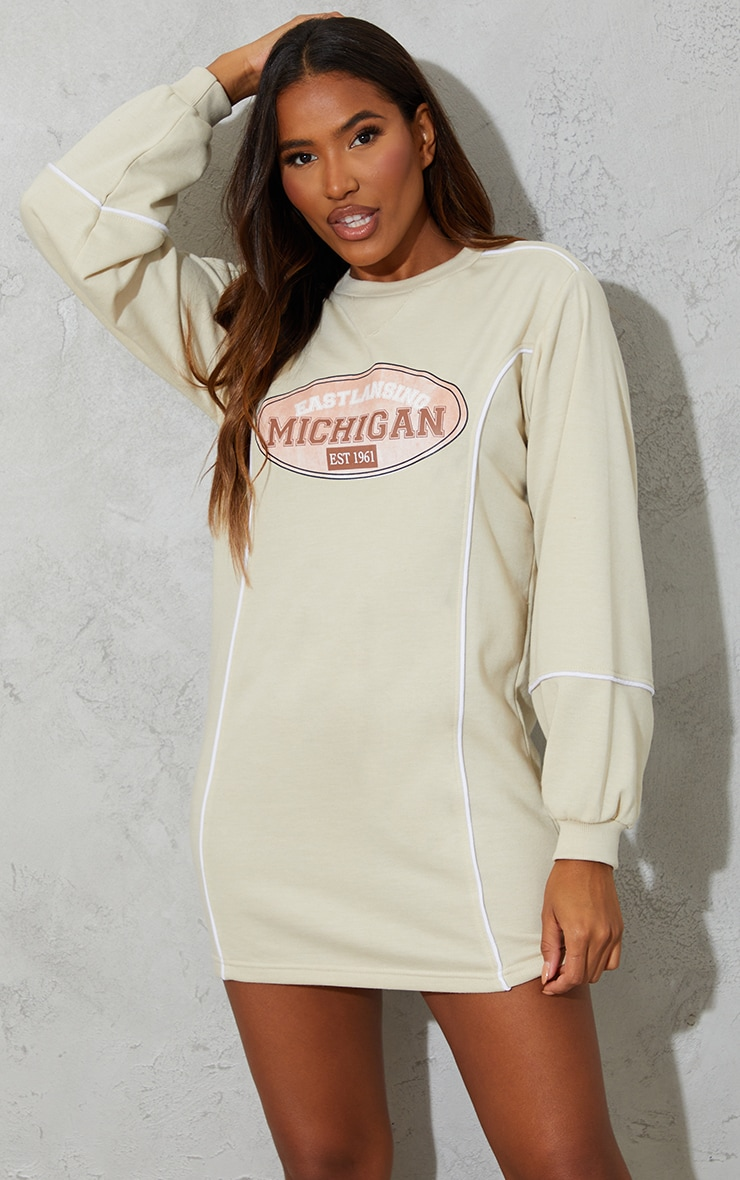 Recycled Stone Michigan Slogan Contrast Binding Sweat Jumper Dress 3