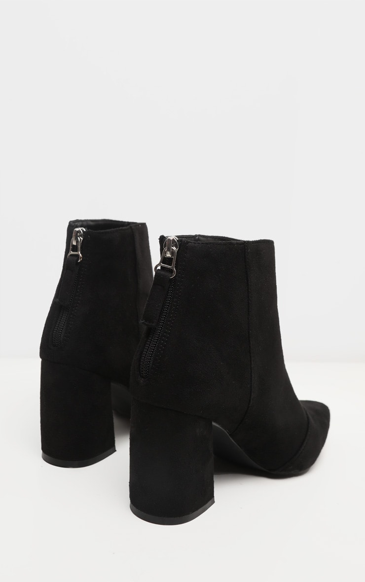 Black Curved Block Heel Ankle Boot 4