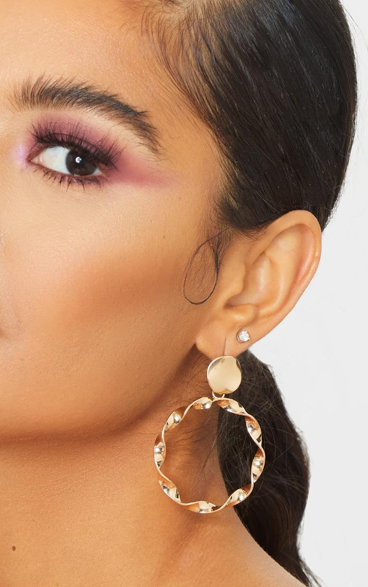 Gold Twist Hoop Drop Earring 1