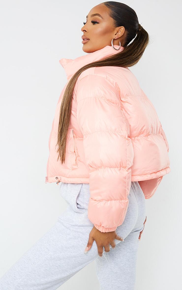 Peach Nylon Toggle Hem Puffer Jacket 2