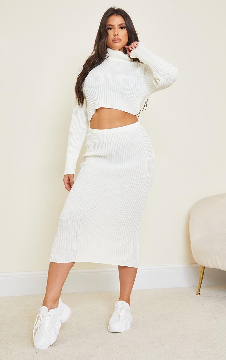 Tall White Knitted Midi Skirt 1