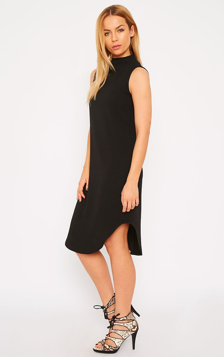 May Black Crepe High Neck Dip Hem Shift Dress 1