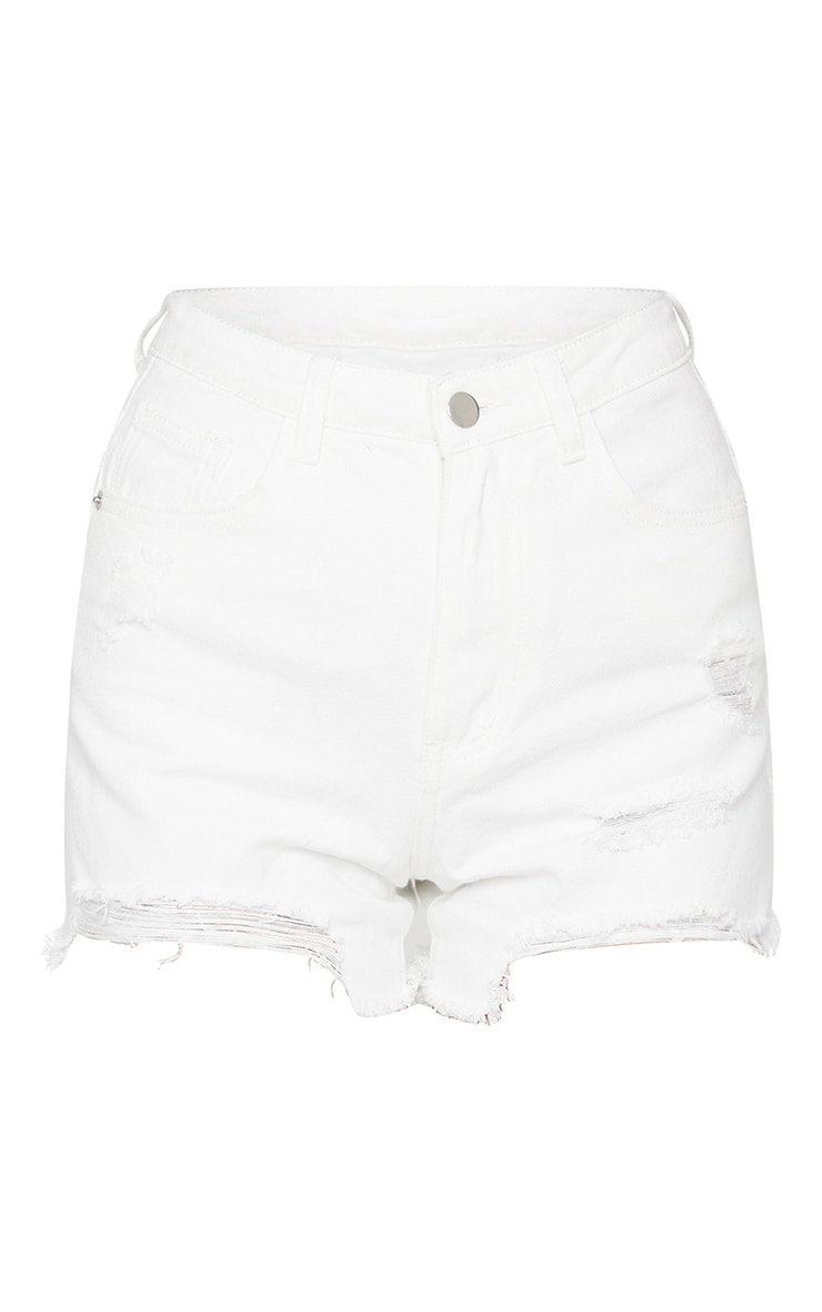 PRETTYLITTLETHING White Ripped Denim Mom Shorts 6