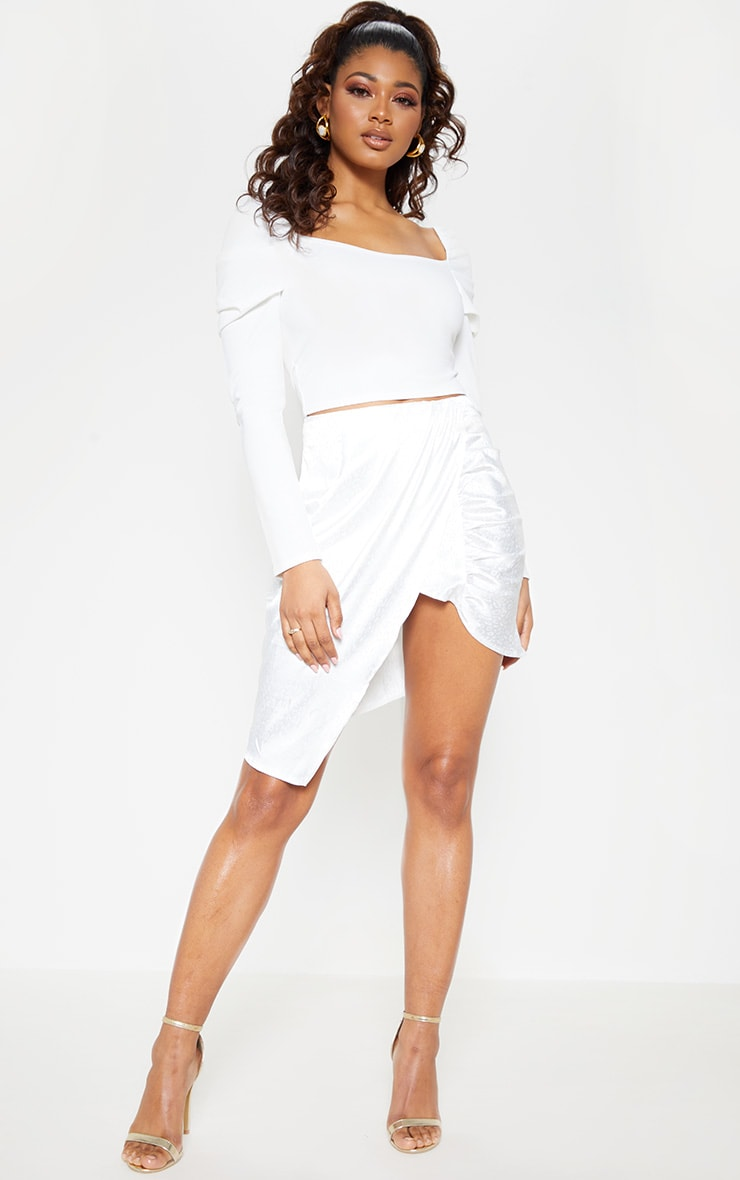 Tall White Square Neck Long Sleeve Crop Top  4